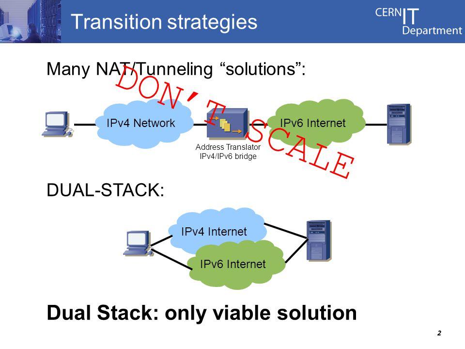 2 Transition strategies Many NAT/Tunneling solutions : DUAL-STACK: Dual Stack: only viable solution Address Translator IPv4/IPv6 bridge IPv4 Internet IPv6 Internet IPv4 NetworkIPv6 Internet DON'T SCALE