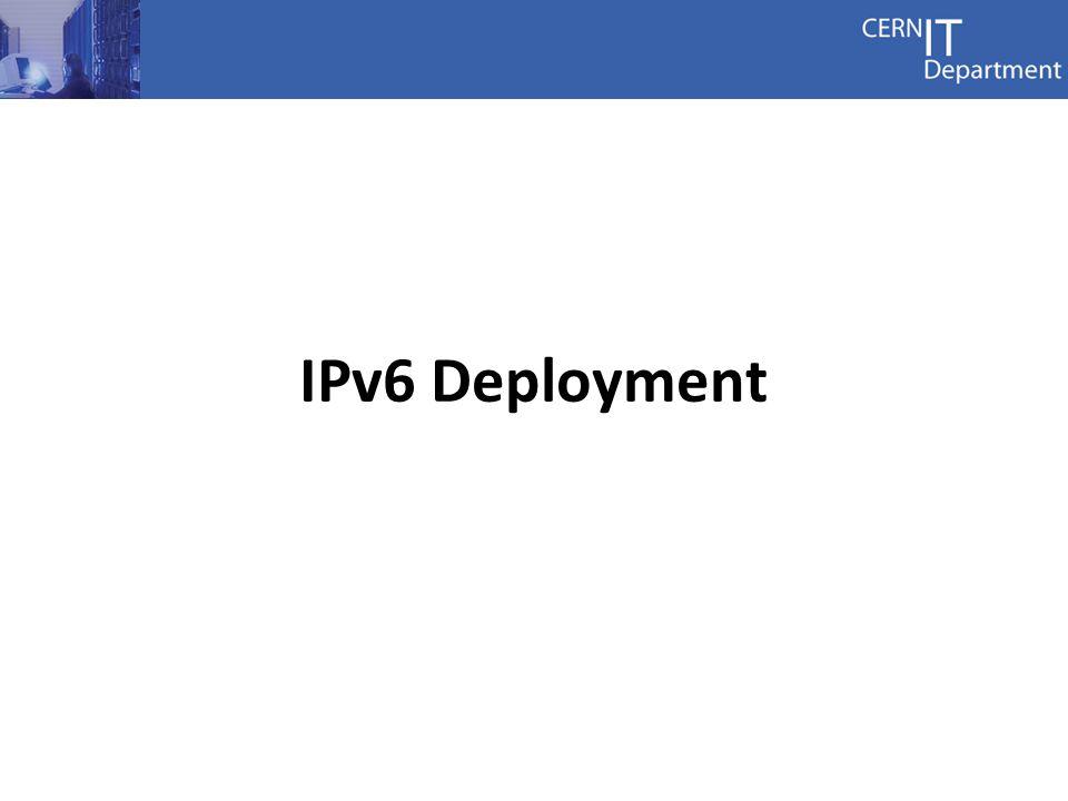 5 IPv6 Addressing plan 2001:1458:0201:1000:0:0:0:5 prefix version domain reserved sequence service host profile GVA prefixes 2001:1458::/32 fd01:1458::/32 WIGNER prefixes 2001:1459::/32 fd01:1459::/32 Network Domains 0EXTNET and Firewall 1CORE 2General Purpose Net 3LHC Computing Grid 5ALICE Network Profiles fffeEUI64 0000Net Equipment 0001User device Well known hosts x::1Gateway x::2VRRP backup