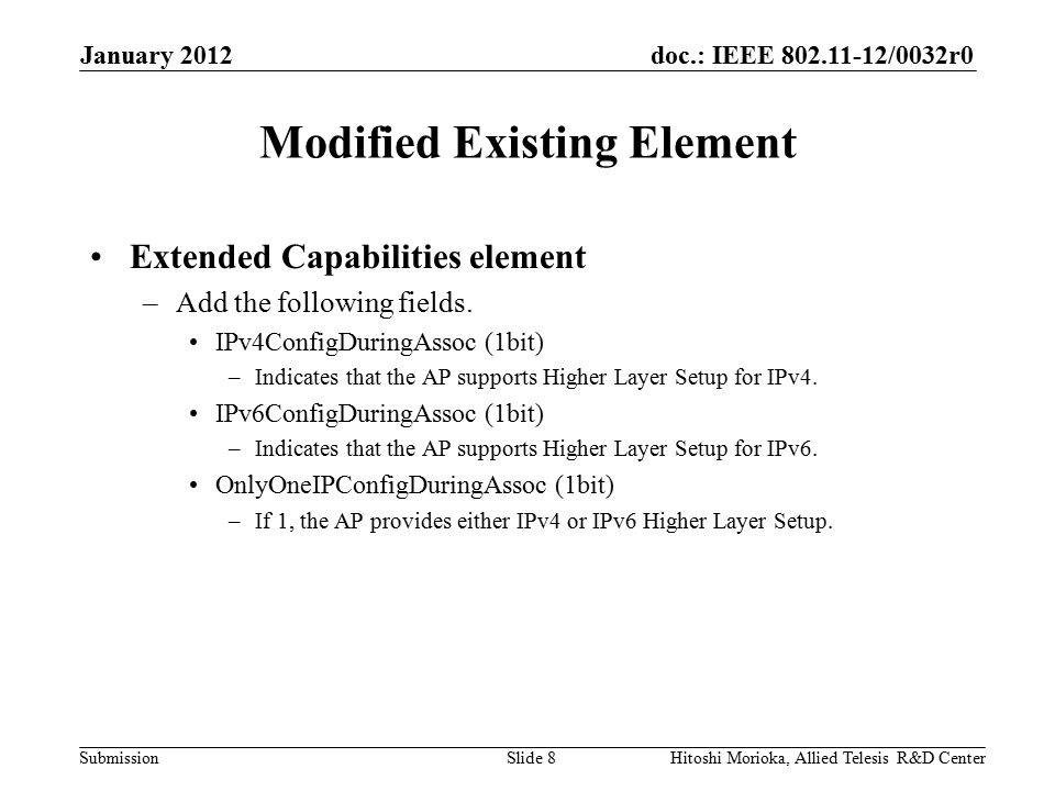 doc.: IEEE 802.11-12/0032r0 Submission New Elements HLS Request Element HLS Response Element January 2012 Hitoshi Morioka, Allied Telesis R&D CenterSlide 9