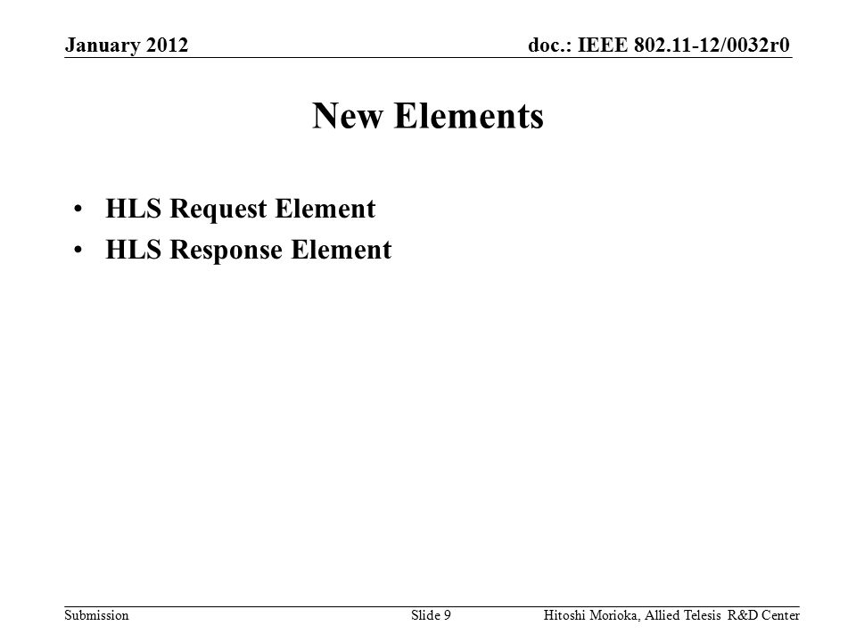 doc.: IEEE 802.11-12/0032r0 Submission HLS Request Element Element Format HLS Request Flags –Encrypted: Optional subelements are encrypted or not.
