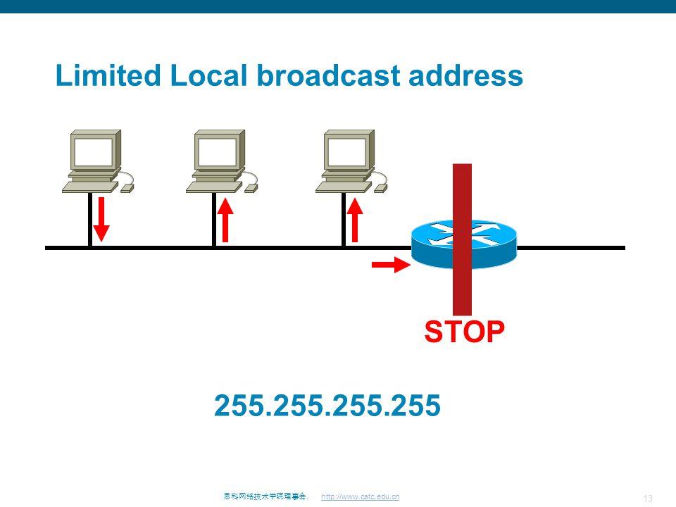 13 思科网络技术学院理事会. http://www.catc.edu.cn Limited Local broadcast address STOP 255.255.255.255