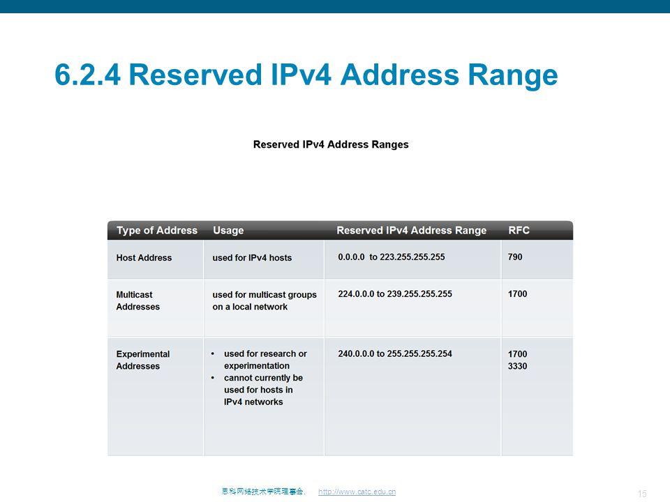 15 思科网络技术学院理事会. http://www.catc.edu.cn 6.2.4 Reserved IPv4 Address Range