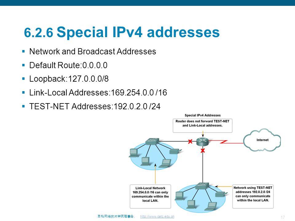 17 思科网络技术学院理事会. http://www.catc.edu.cn 6.2.6 Special IPv4 addresses  Network and Broadcast Addresses  Default Route:0.0.0.0  Loopback:127.0.0.0/8 