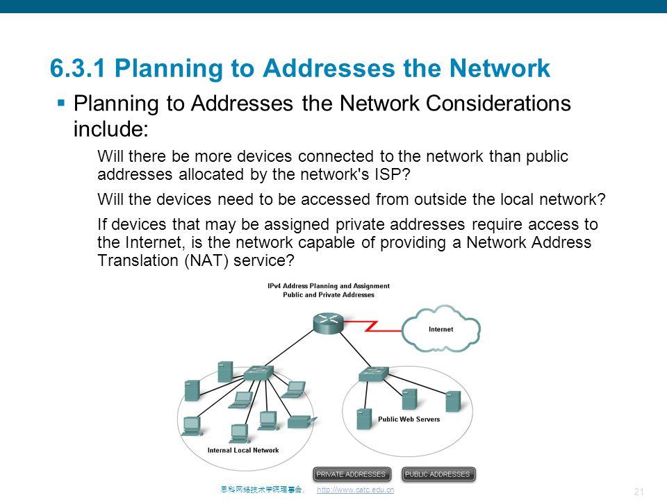 21 思科网络技术学院理事会. http://www.catc.edu.cn 6.3.1 Planning to Addresses the Network  Planning to Addresses the Network Considerations include: Will there