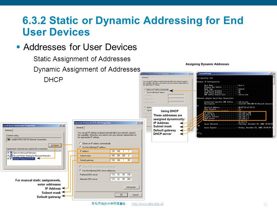 22 思科网络技术学院理事会. http://www.catc.edu.cn 6.3.2 Static or Dynamic Addressing for End User Devices  Addresses for User Devices Static Assignment of Addre