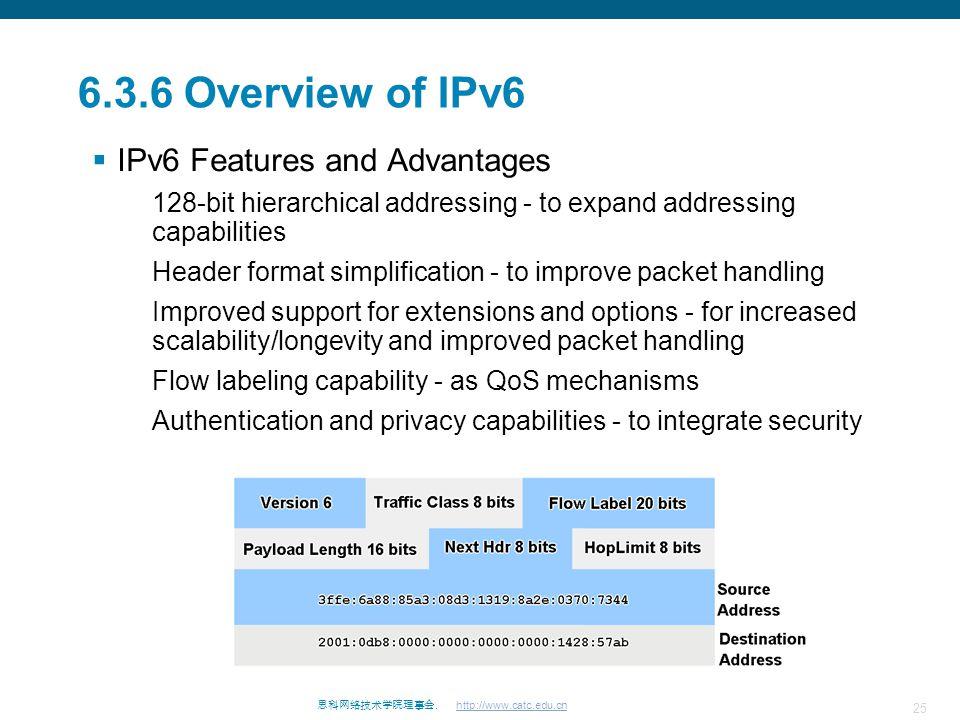 25 思科网络技术学院理事会. http://www.catc.edu.cn 6.3.6 Overview of IPv6  IPv6 Features and Advantages 128-bit hierarchical addressing - to expand addressing ca