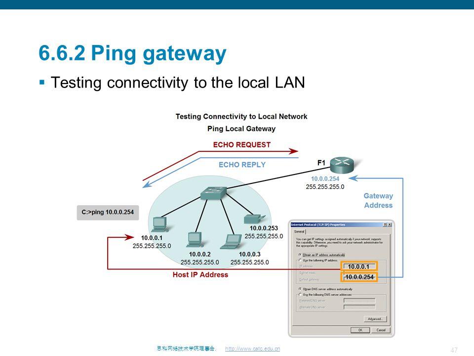 47 思科网络技术学院理事会. http://www.catc.edu.cn 6.6.2 Ping gateway  Testing connectivity to the local LAN