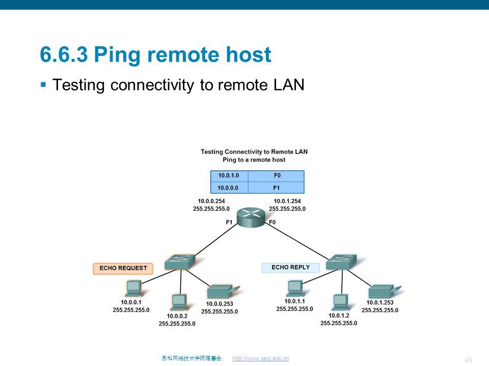 48 思科网络技术学院理事会. http://www.catc.edu.cn 6.6.3 Ping remote host  Testing connectivity to remote LAN