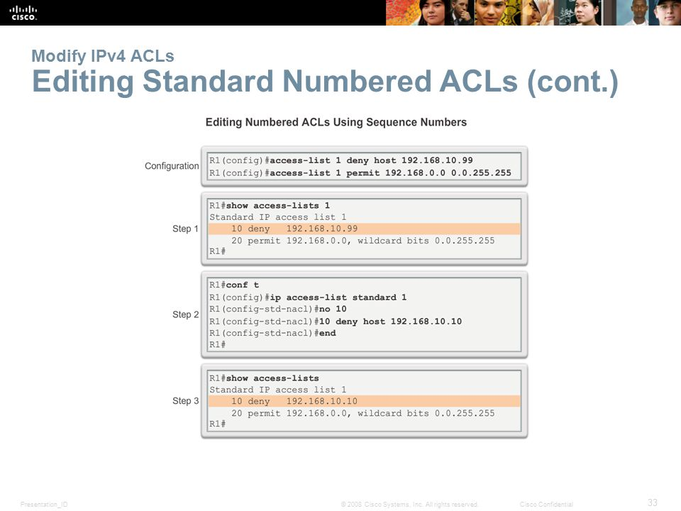 Presentation_ID 33 © 2008 Cisco Systems, Inc. All rights reserved.Cisco Confidential Modify IPv4 ACLs Editing Standard Numbered ACLs (cont.)