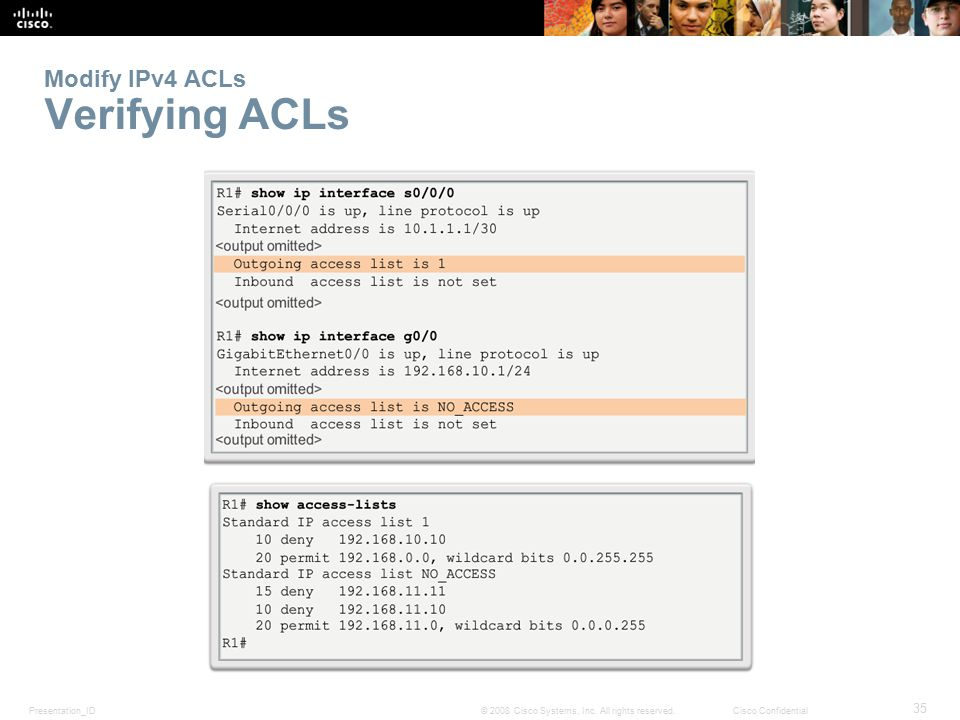 Presentation_ID 35 © 2008 Cisco Systems, Inc. All rights reserved.Cisco Confidential Modify IPv4 ACLs Verifying ACLs