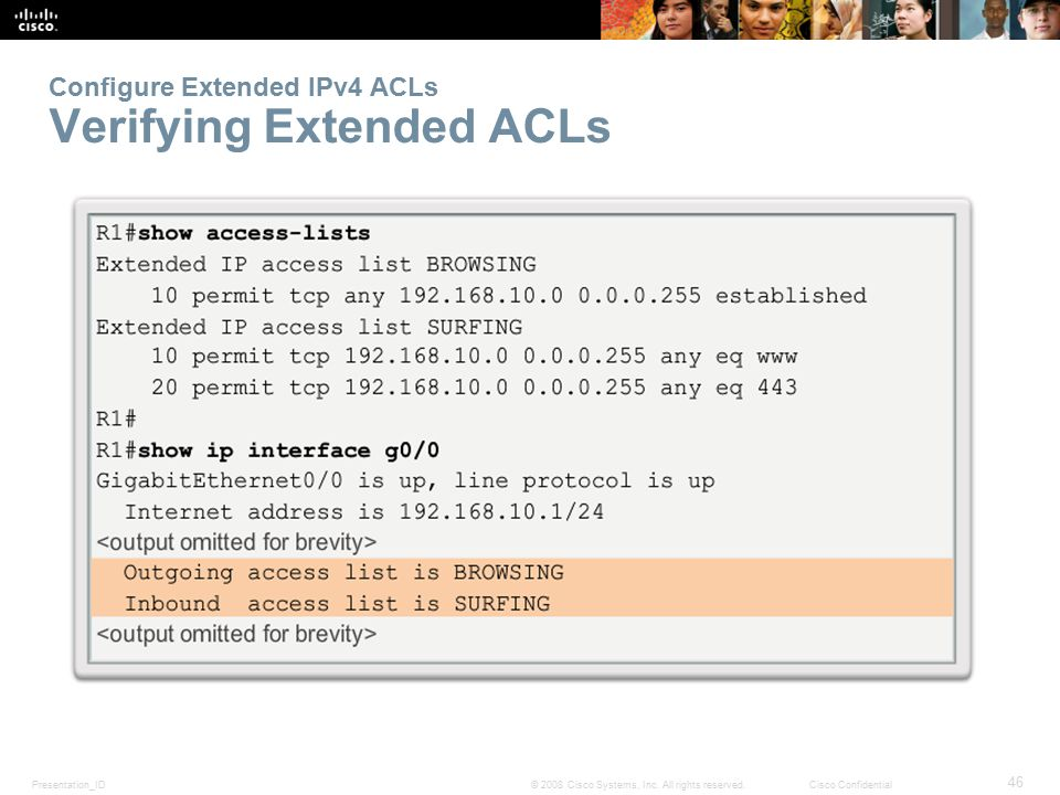 Presentation_ID 46 © 2008 Cisco Systems, Inc. All rights reserved.Cisco Confidential Configure Extended IPv4 ACLs Verifying Extended ACLs