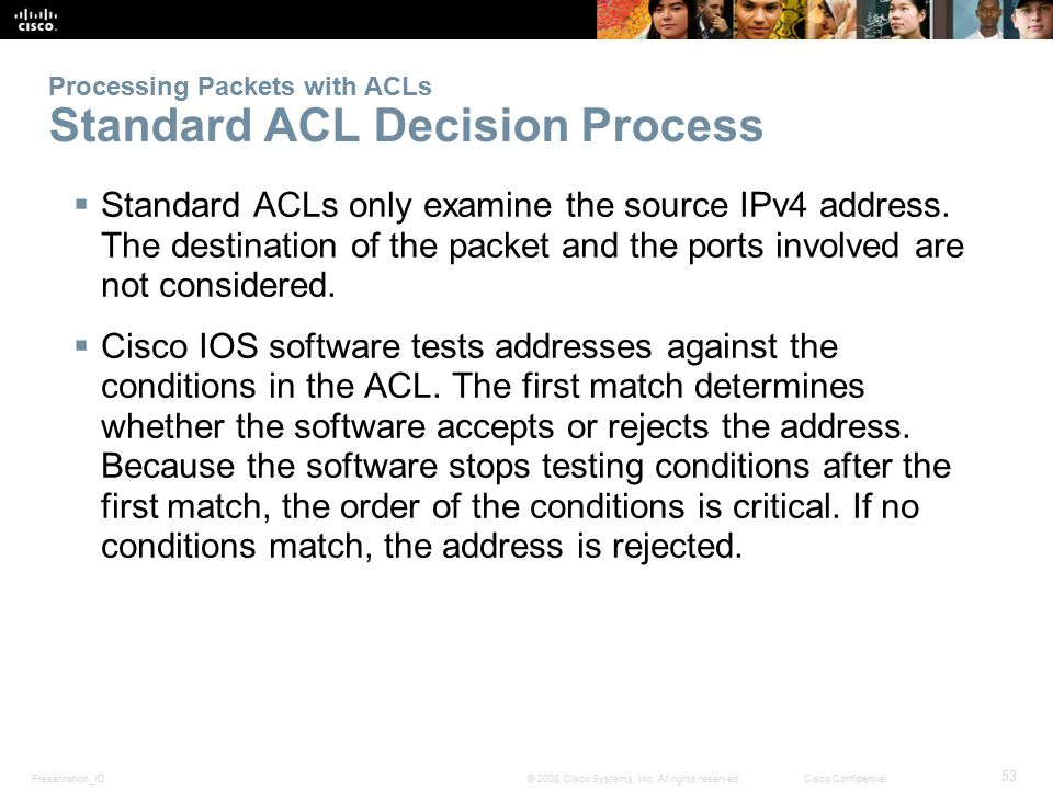 Presentation_ID 53 © 2008 Cisco Systems, Inc. All rights reserved.Cisco Confidential Processing Packets with ACLs Standard ACL Decision Process  Stan