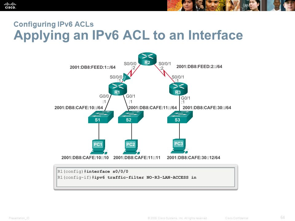 Presentation_ID 64 © 2008 Cisco Systems, Inc. All rights reserved.Cisco Confidential Configuring IPv6 ACLs Applying an IPv6 ACL to an Interface