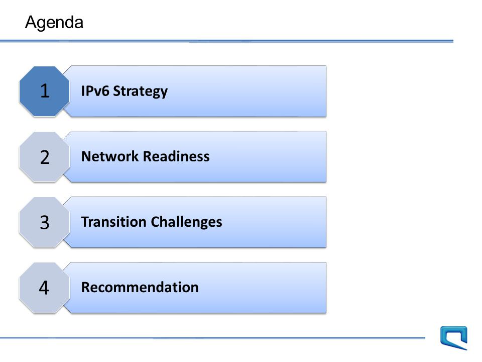Agenda IPv6 Strategy Network Readiness Transition Challenges Recommendation 1 2 3 4