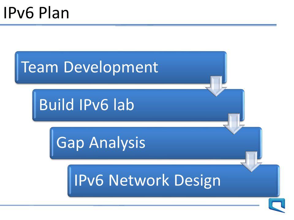 IPv6 Plan Team DevelopmentBuild IPv6 labGap AnalysisIPv6 Network Design