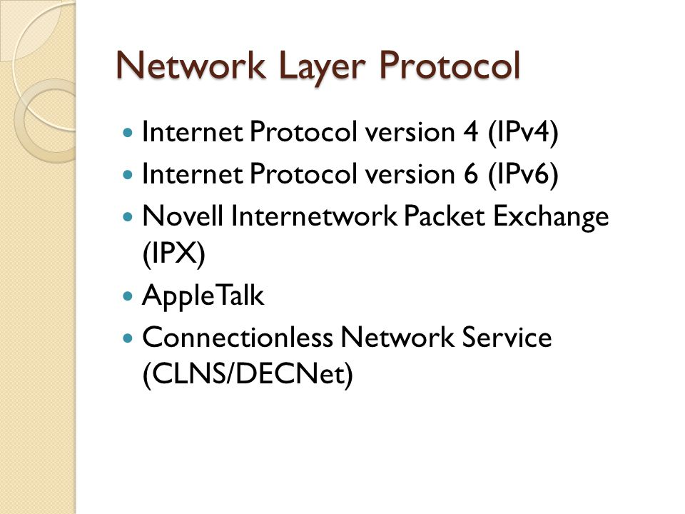 Network Layer Protocol Internet Protocol version 4 (IPv4) Internet Protocol version 6 (IPv6) Novell Internetwork Packet Exchange (IPX) AppleTalk Connectionless Network Service (CLNS/DECNet)