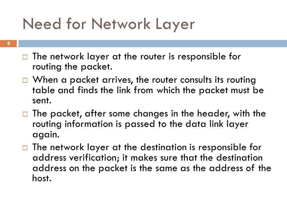 Need for Network Layer  The network layer at the router is responsible for routing the packet.