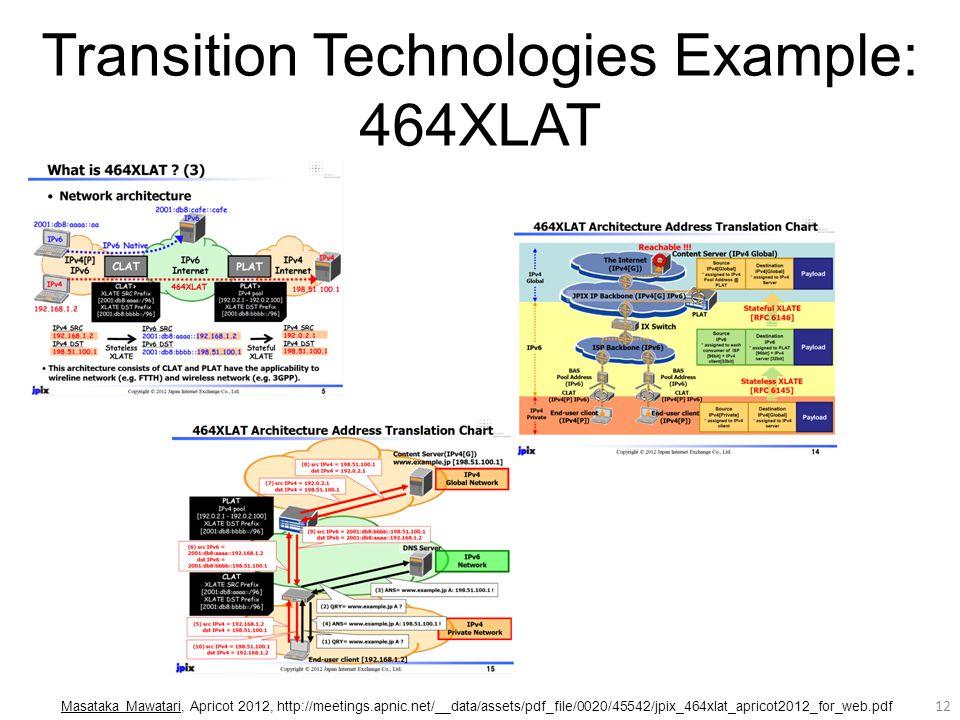 Transition Technologies Example: 464XLAT 12 Masataka Mawatari, Apricot 2012, http://meetings.apnic.net/__data/assets/pdf_file/0020/45542/jpix_464xlat_apricot2012_for_web.pdf