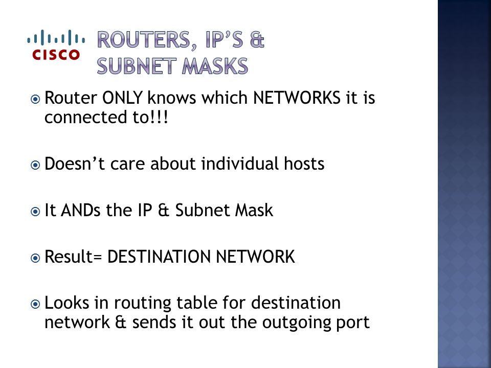  Router ONLY knows which NETWORKS it is connected to!!.
