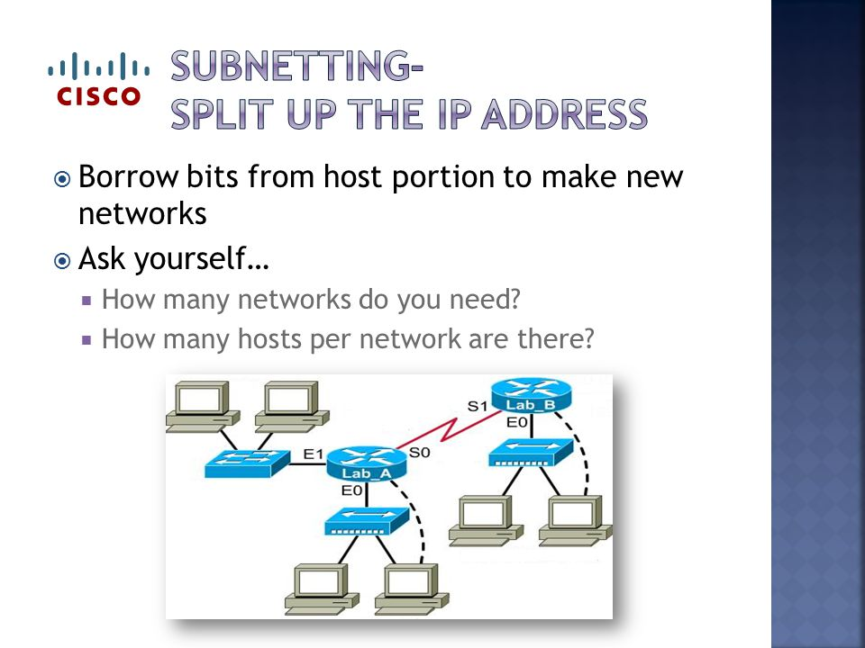  Borrow bits from host portion to make new networks  Ask yourself…  How many networks do you need.