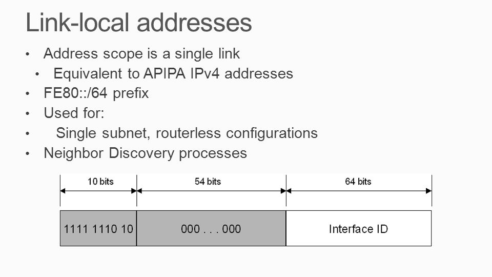Link-local addresses Address scope is a single link Equivalent to APIPA IPv4 addresses FE80::/64 prefix Used for: Single subnet, routerless configurations Neighbor Discovery processes