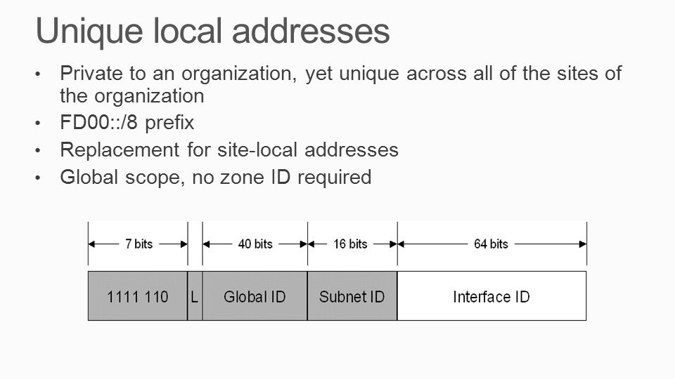 Unique local addresses Private to an organization, yet unique across all of the sites of the organization FD00::/8 prefix Replacement for site-local addresses Global scope, no zone ID required