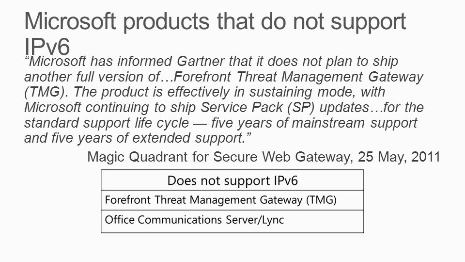 Microsoft products that do not support IPv6 Microsoft has informed Gartner that it does not plan to ship another full version of…Forefront Threat Management Gateway (TMG).