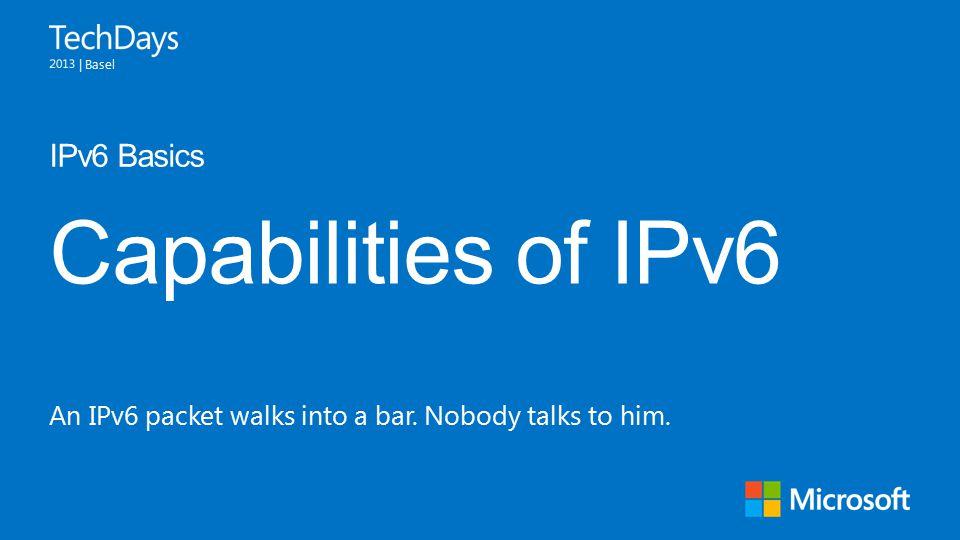 | Basel Capabilities of IPv6 IPv6 Basics An IPv6 packet walks into a bar. Nobody talks to him.