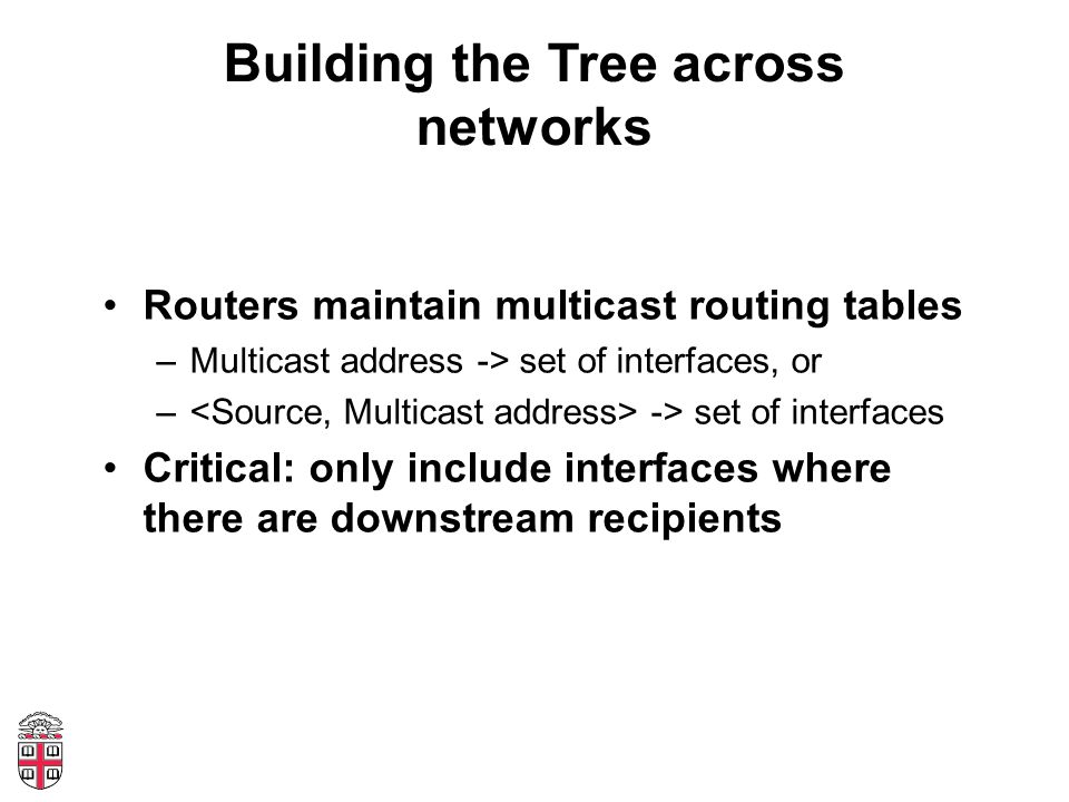 Building the Tree across networks Routers maintain multicast routing tables –Multicast address -> set of interfaces, or – -> set of interfaces Critica