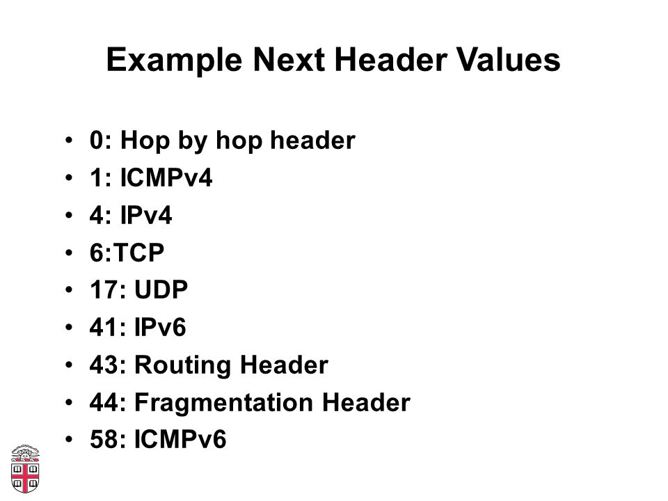 Example Next Header Values 0: Hop by hop header 1: ICMPv4 4: IPv4 6:TCP 17: UDP 41: IPv6 43: Routing Header 44: Fragmentation Header 58: ICMPv6