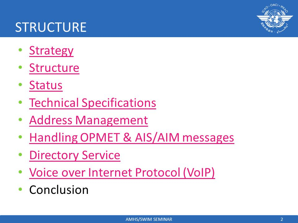 COMMUNICATION GROUND-TO-GROUND Strategy adopted by APANPIRG/17 – August 2006 – ATN to be implemented in compliance with ICAO requirements – Initially support ATS Message Handling System (AMHS) to replace AFTN – Deploy Backbone ATN routers to provide reliable infrastructure to eventually support air-ground applications – Reasonable timeframe be established to replace AFTN with AMHS – Message Transfer Agent sites to provide AFTN/AMHS gateways – States to cooperate with each other in the implementation – States to organize training – After successful deployment of ground-to-ground ATN, should introduce air-to-ground – Deploy dual stack protocols (OSI/IPS)