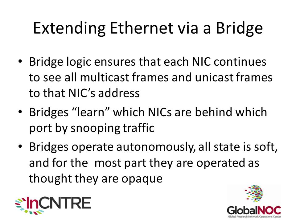 Extending Ethernet via a Bridge Bridge logic ensures that each NIC continues to see all multicast frames and unicast frames to that NIC's address Bridges learn which NICs are behind which port by snooping traffic Bridges operate autonomously, all state is soft, and for the most part they are operated as thought they are opaque