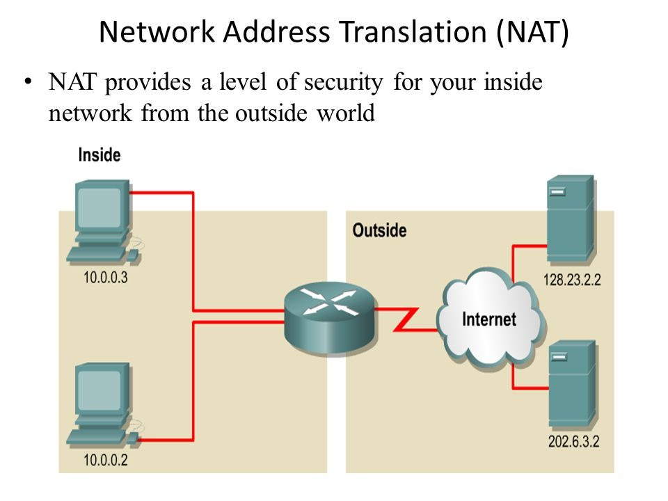Network Address Translation (NAT) NAT provides a level of security for your inside network from the outside world