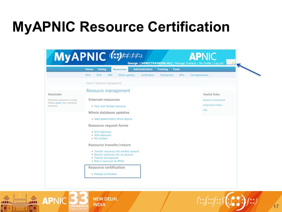 MyAPNIC Resource Certification 17
