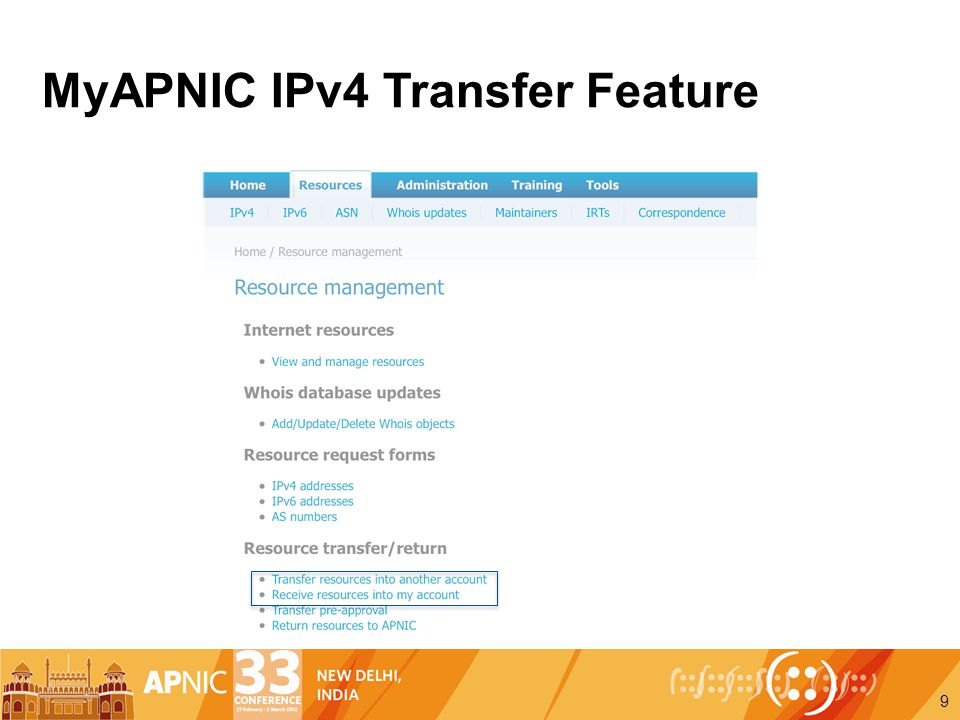MyAPNIC IPv4 Transfer Feature 9