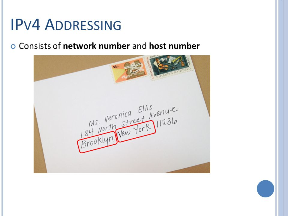 IP V 4 A DDRESSING Consists of network number and host number