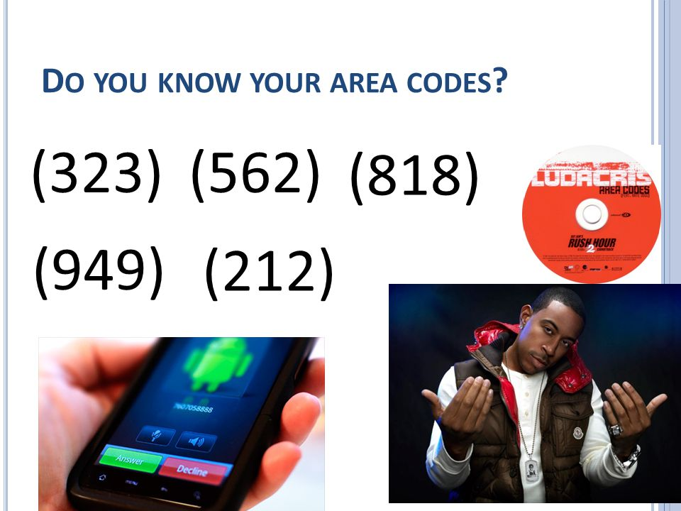 D O YOU KNOW YOUR AREA CODES (323)(562) (818) (949) (212)