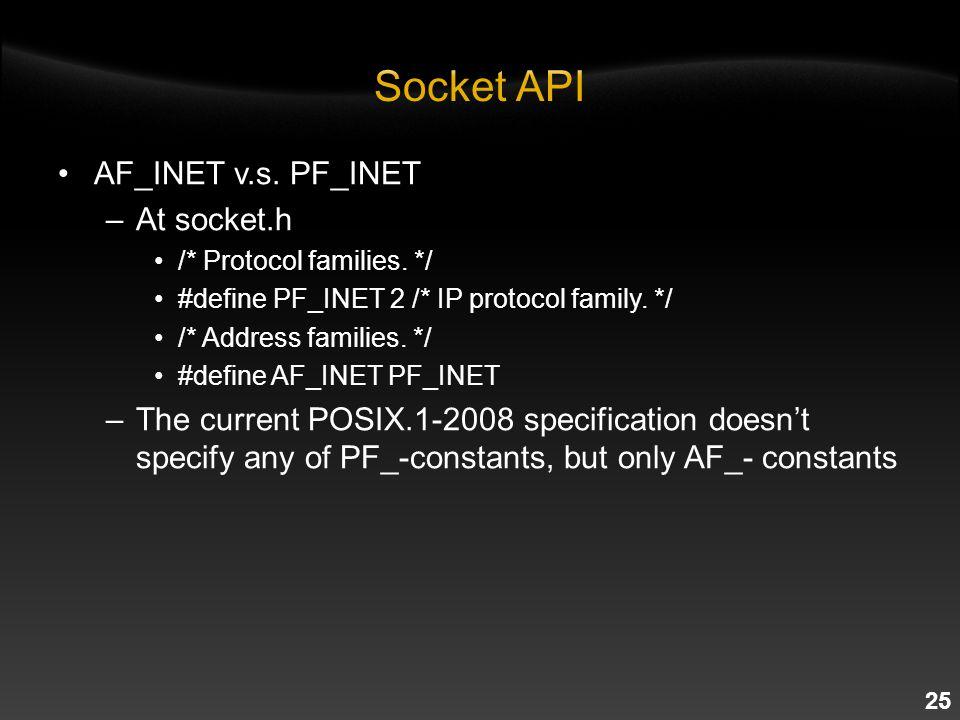 25 AF_INET v.s. PF_INET –At socket.h /* Protocol families.