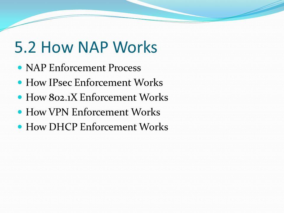 5.2 How NAP Works NAP Enforcement Process How IPsec Enforcement Works How 802.1X Enforcement Works How VPN Enforcement Works How DHCP Enforcement Works