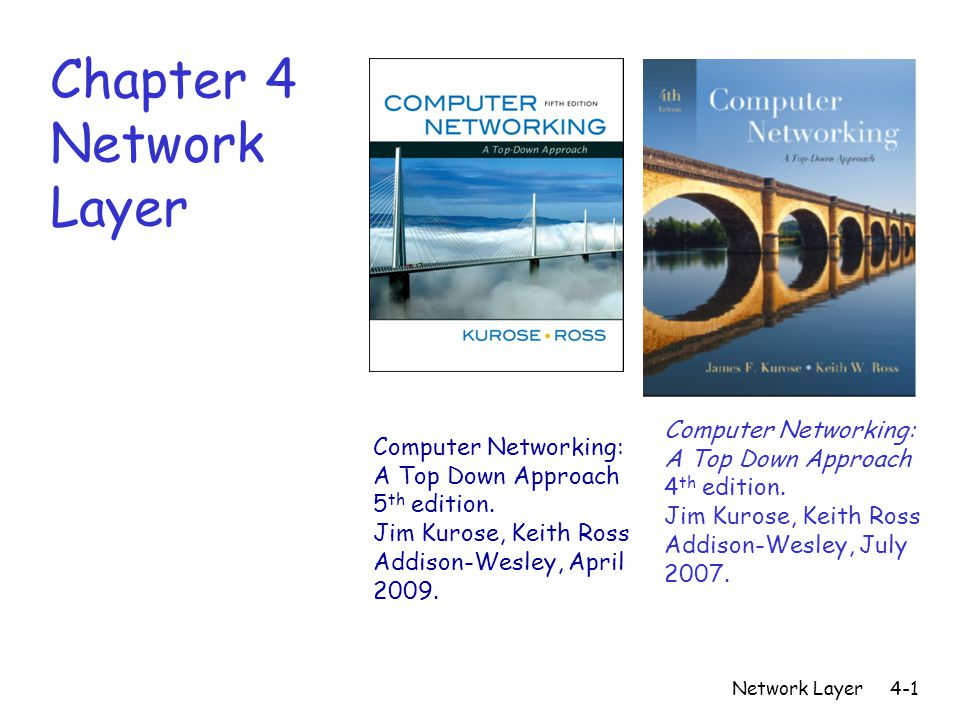 Network Layer4-2 Network layer r transport segment from sending to receiving host r on sending side encapsulates segments into datagrams r on rcving side, delivers segments to transport layer r network layer protocols in every host, router r router examines header fields in all IP datagrams passing through it application transport network data link physical application transport network data link physical network data link physical network data link physical network data link physical network data link physical network data link physical network data link physical network data link physical network data link physical network data link physical network data link physical network data link physical