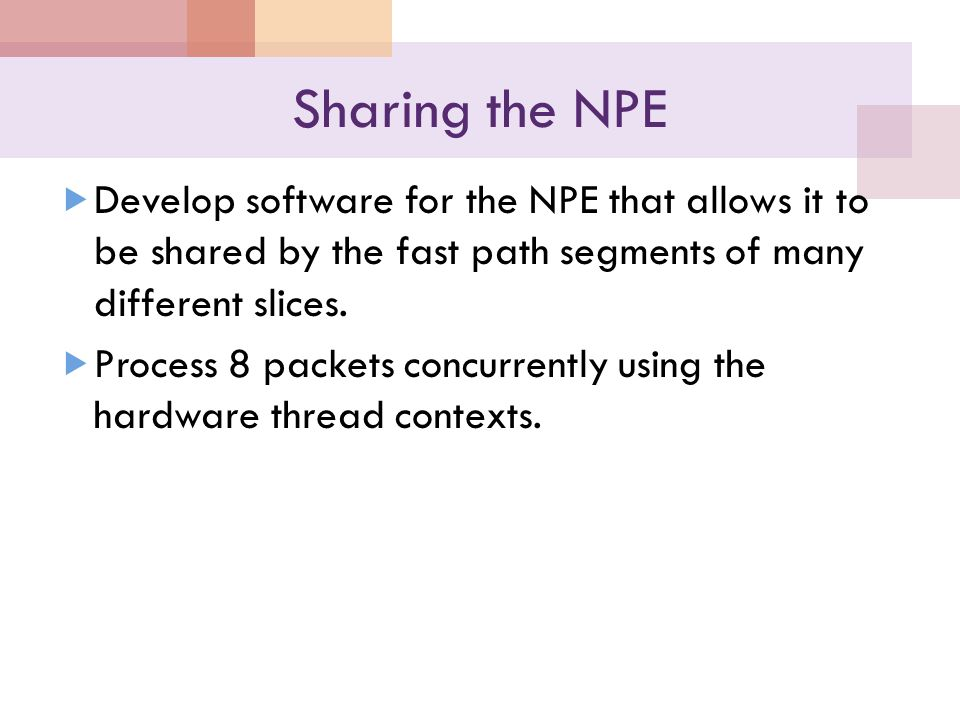 Sharing the NPE  Develop software for the NPE that allows it to be shared by the fast path segments of many different slices.