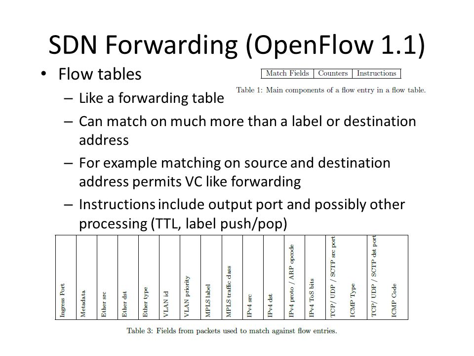 SDN Forwarding (OpenFlow 1.1) Flow tables – Like a forwarding table – Can match on much more than a label or destination address – For example matching on source and destination address permits VC like forwarding – Instructions include output port and possibly other processing (TTL, label push/pop)