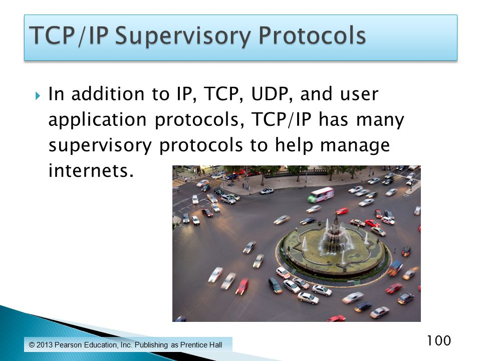  In addition to IP, TCP, UDP, and user application protocols, TCP/IP has many supervisory protocols to help manage internets.