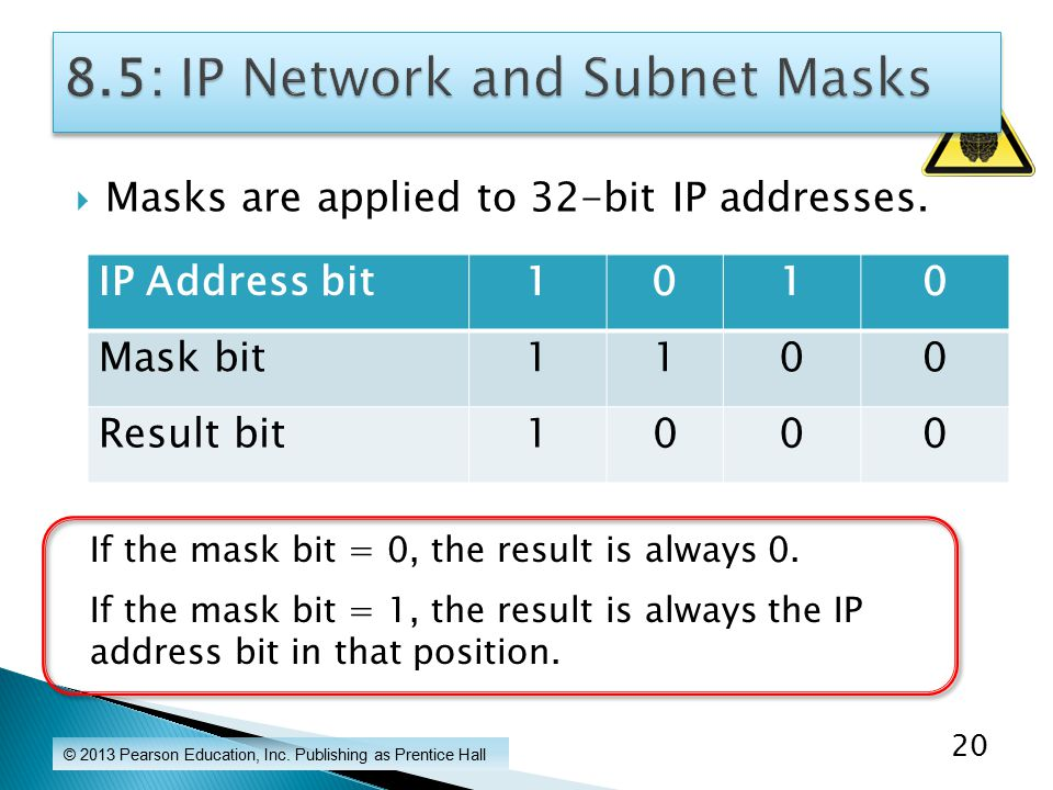 Masks are applied to 32-bit IP addresses. © 2013 Pearson Education, Inc.