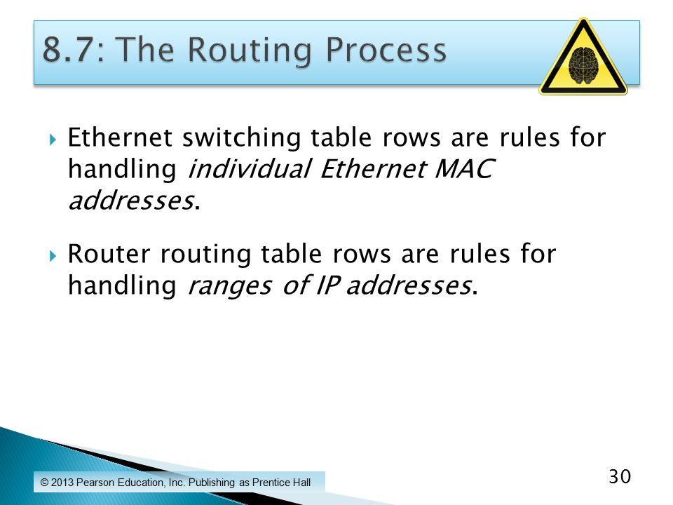  Ethernet switching table rows are rules for handling individual Ethernet MAC addresses.