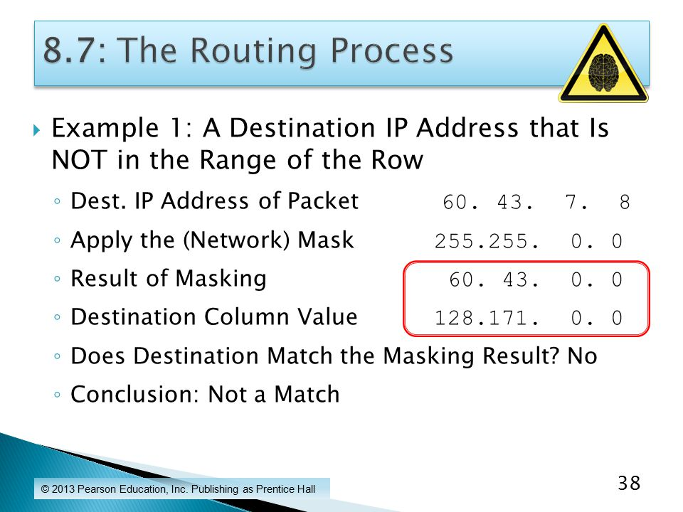  Example 1: A Destination IP Address that Is NOT in the Range of the Row ◦ Dest.
