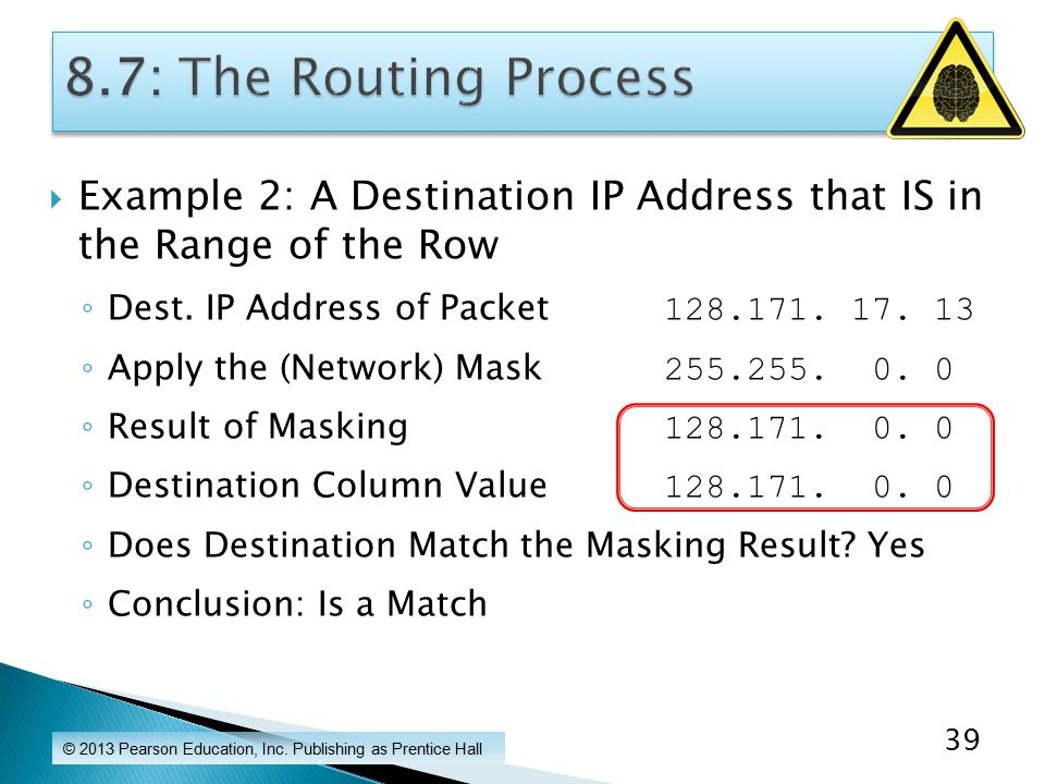  Example 2: A Destination IP Address that IS in the Range of the Row ◦ Dest.