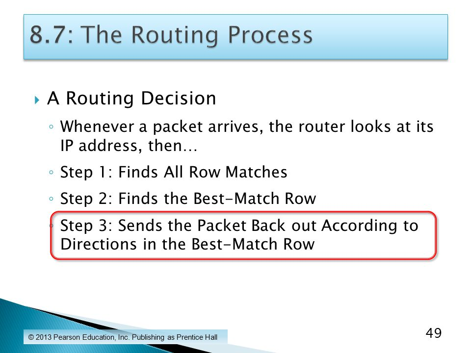  A Routing Decision ◦ Whenever a packet arrives, the router looks at its IP address, then… ◦ Step 1: Finds All Row Matches ◦ Step 2: Finds the Best-Match Row ◦ Step 3: Sends the Packet Back out According to Directions in the Best-Match Row © 2013 Pearson Education, Inc.