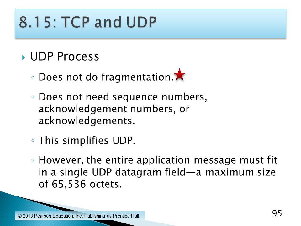 UDP Process ◦ Does not do fragmentation.