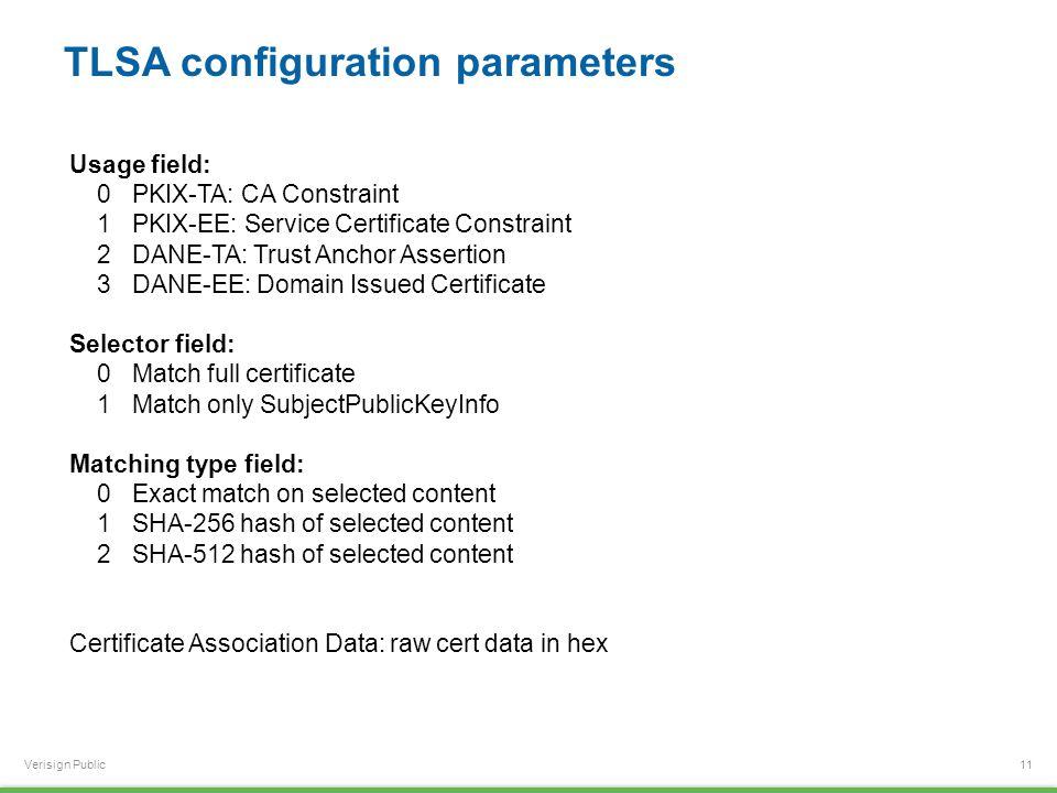 Verisign Public TLSA configuration parameters 11 Usage field: 0 PKIX-TA: CA Constraint 1 PKIX-EE: Service Certificate Constraint 2 DANE-TA: Trust Anchor Assertion 3 DANE-EE: Domain Issued Certificate Selector field: 0 Match full certificate 1 Match only SubjectPublicKeyInfo Matching type field: 0 Exact match on selected content 1 SHA-256 hash of selected content 2 SHA-512 hash of selected content Certificate Association Data: raw cert data in hex